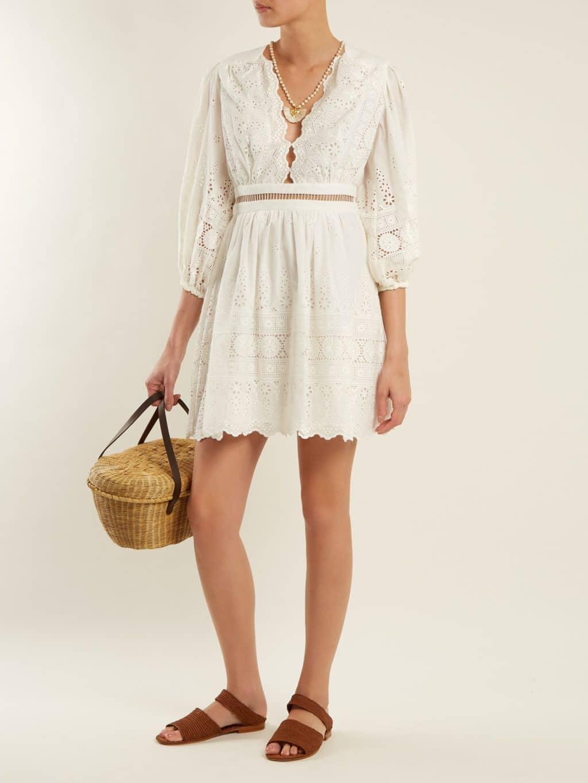 ZIMMERMANN Kali Embroidered Cotton Ivory Dress
