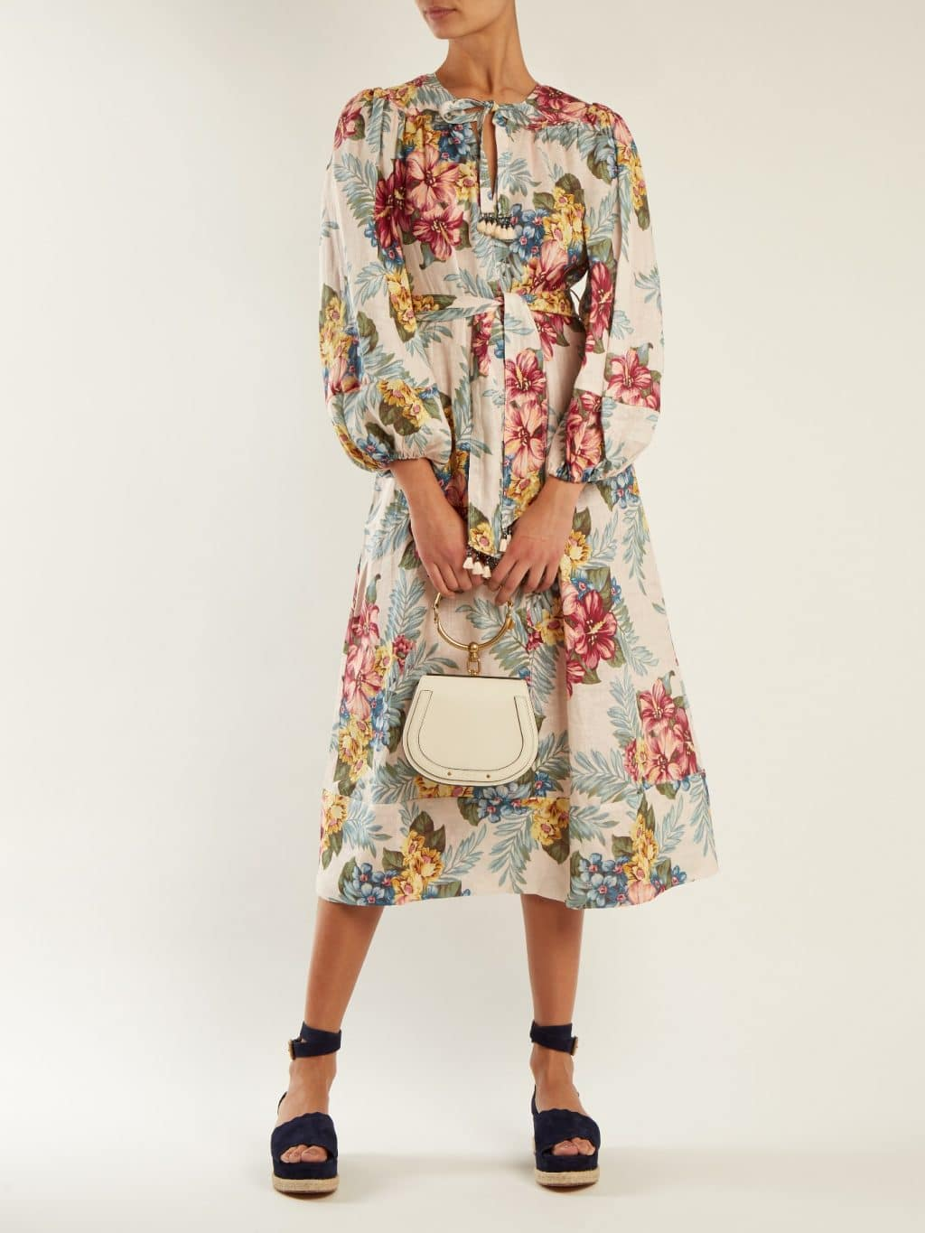 Zimmermann Kali Tie Waist Linen Multicolor Floral Print Shirtdress