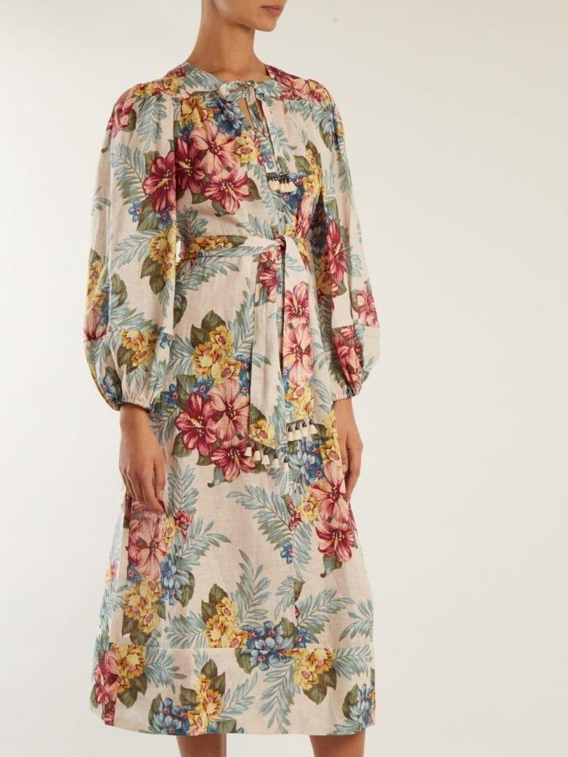 f6fb428e91 ZIMMERMANN Kali Tie Waist Linen Multicolor   Floral Print Shirtdress ...