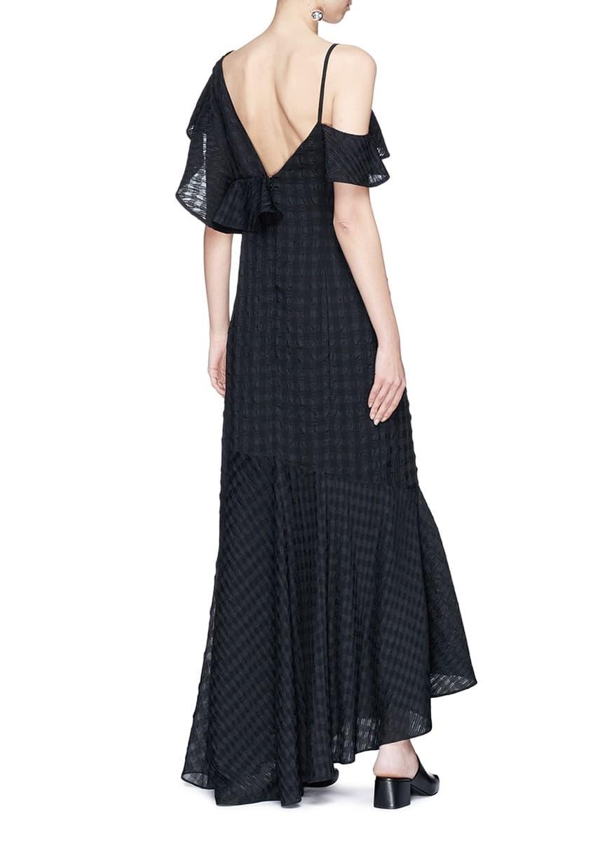 ADEAM Asymmetric Ruffle Check Seersucker Maxi Black Dress - We ...