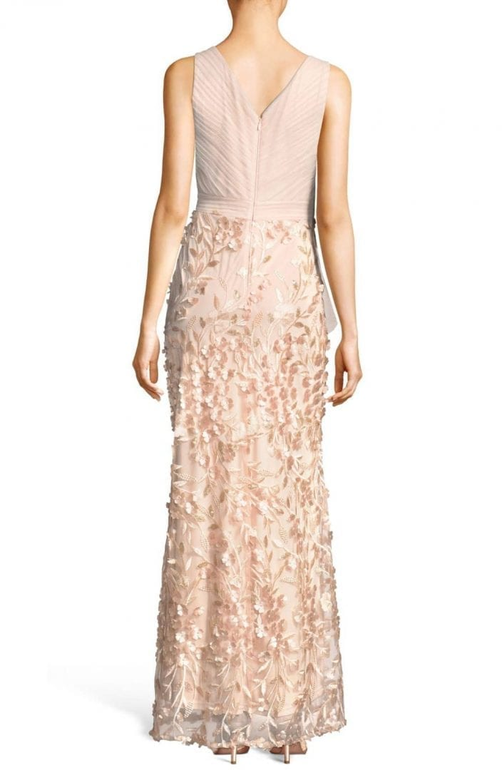ADRIANNA PAPELL Petal Embellished Tulle Blush Gown - We Select Dresses