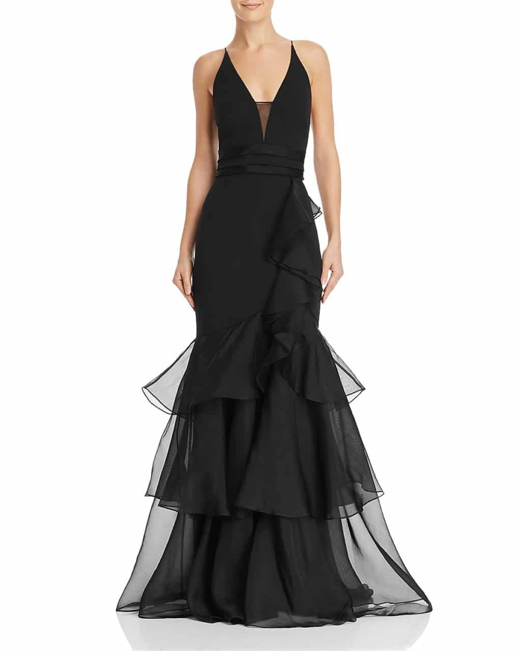 AIDAN MATTOX Tiered-Ruffle Crepe Black Gown - We Select Dresses