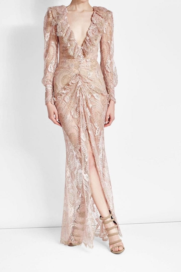 ALESSANDRA RICH Floor Length Lace Pink Dress