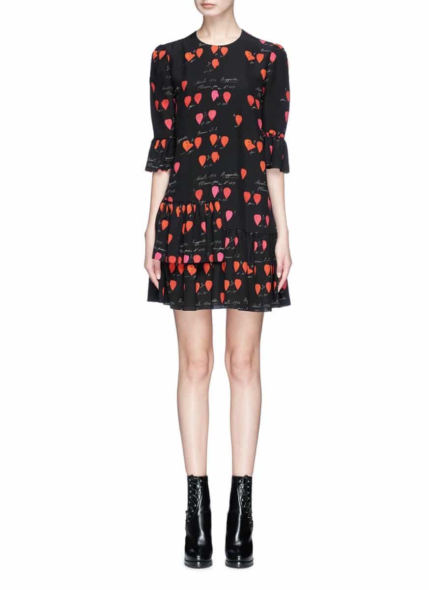 93532d85d8d ALEXANDER MCQUEEN Asymmetric Ruffle Petal Print Silk Black   Multicolored  Dress