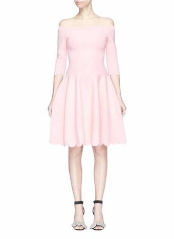abcfd5610a ALEXANDER MCQUEEN Rose Embossed Scalloped Off-shoulder Knit Light Pink Dress