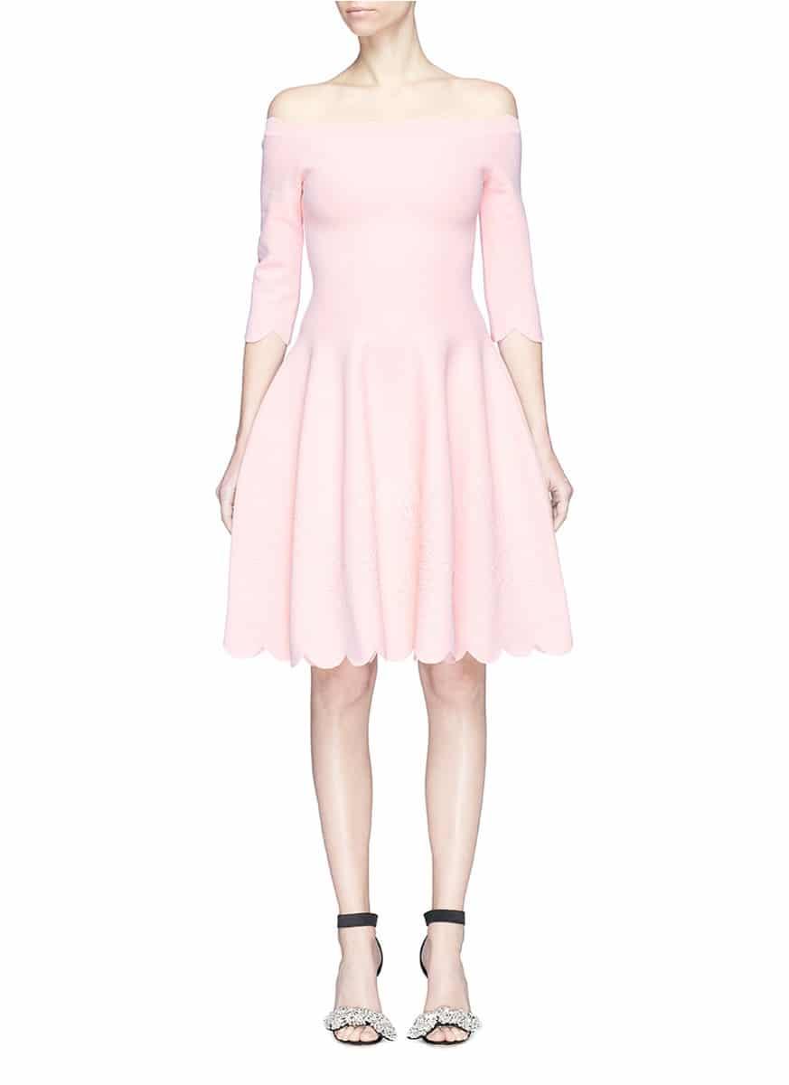 f757ddef038f ALEXANDER MCQUEEN Rose Embossed Scalloped Off-shoulder Knit Light Pink Dress