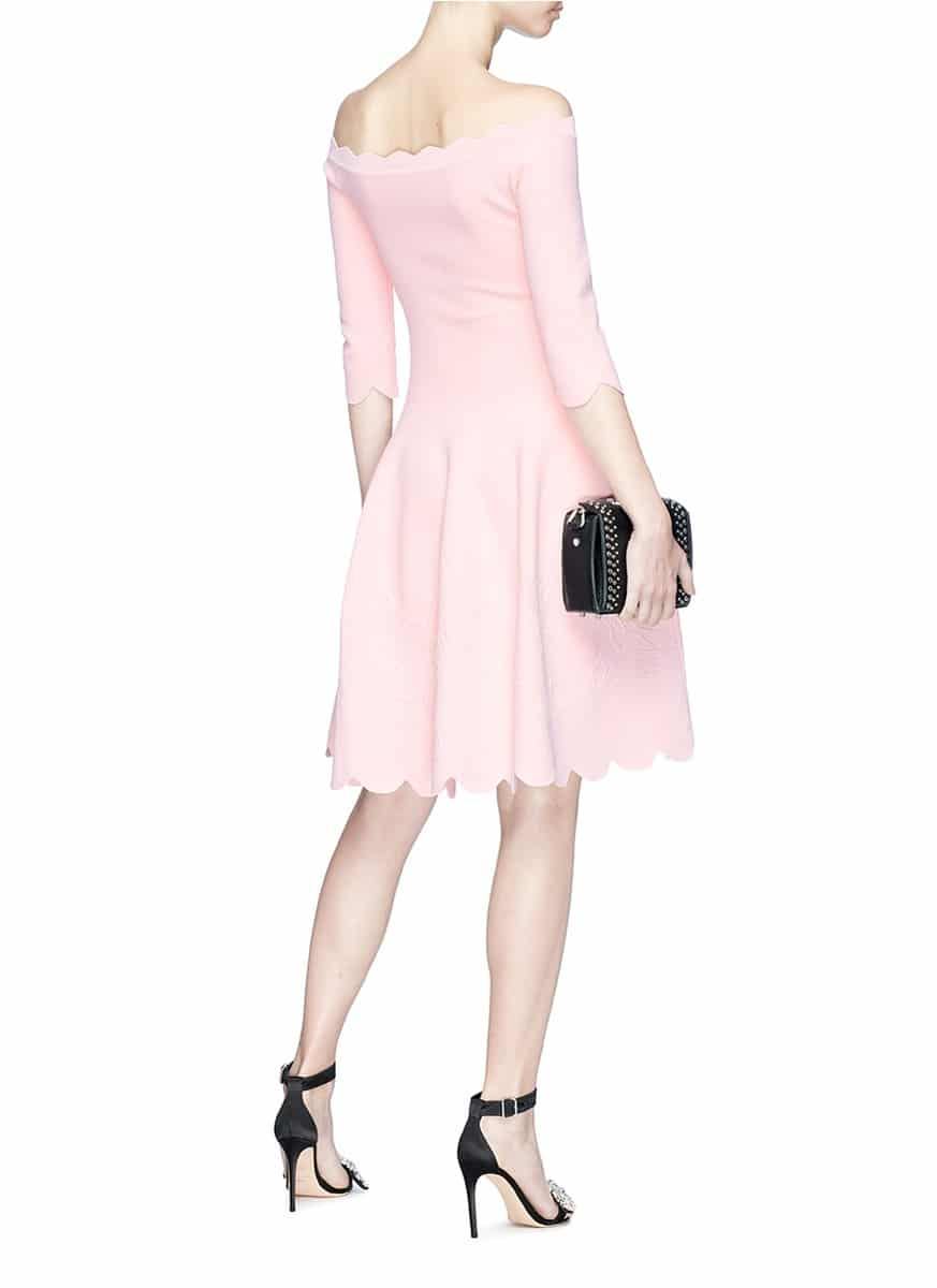 285a4e87ac81 ALEXANDER MCQUEEN Rose Embossed Scalloped Off-shoulder Knit Light Pink Dress