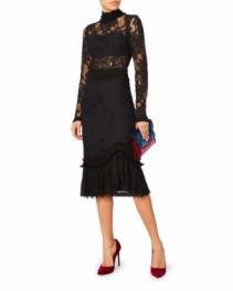 ALEXIS Anabella Lace Midi Black Dress