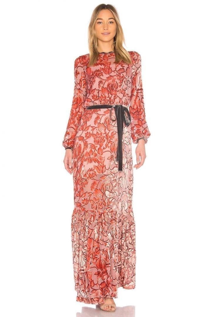 ALEXIS Felice Velvet Floral Devore Gown