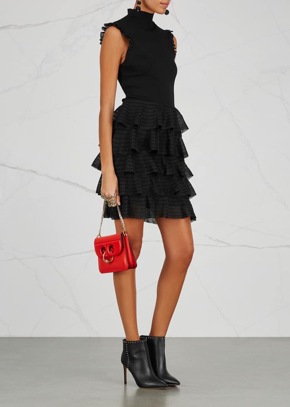 ALICE + OLIVIA Janice Ruffled Stretch Knit Black Dress