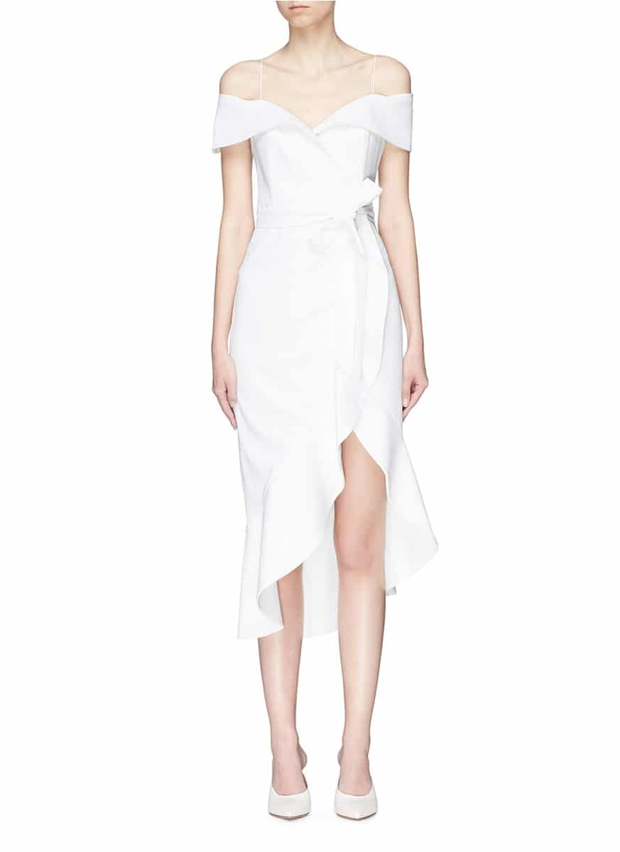 27c784f4e9e ALICE + OLIVIA  josie  Off-shoulder Asymmetric Ruffle Wrap Off White Dress