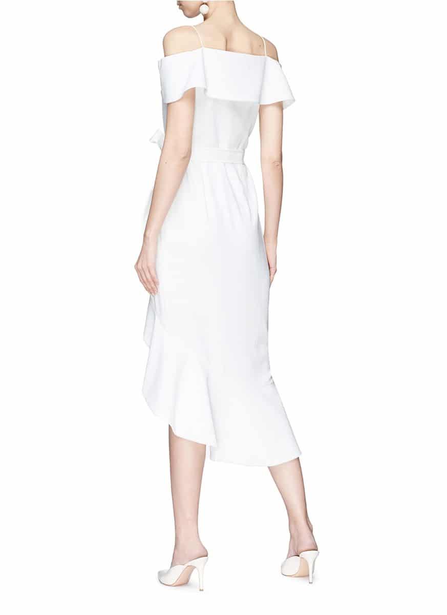 7fee4be6e7 ALICE + OLIVIA 'josie' Off-shoulder Asymmetric Ruffle Wrap Off White Dress