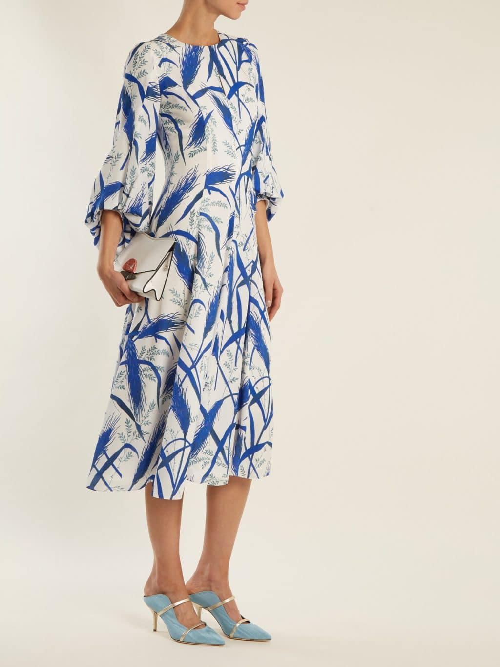 ANDREW GN Rye Print Puff Sleeved Silk Georgette Midi Royal Blue / Cream Dress