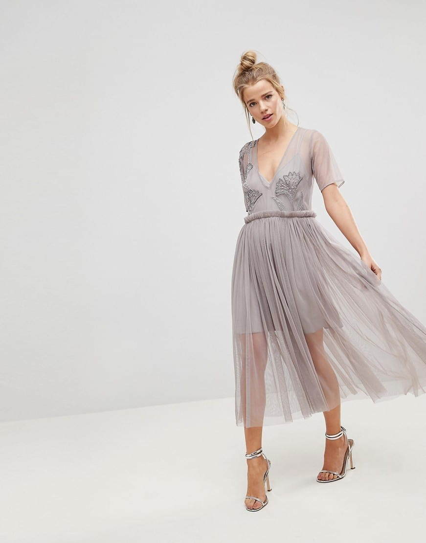 01a0424dfd70be ASOS Delicate Beading Embellished Deep Plunge Mesh Midi Soft Grey Dress