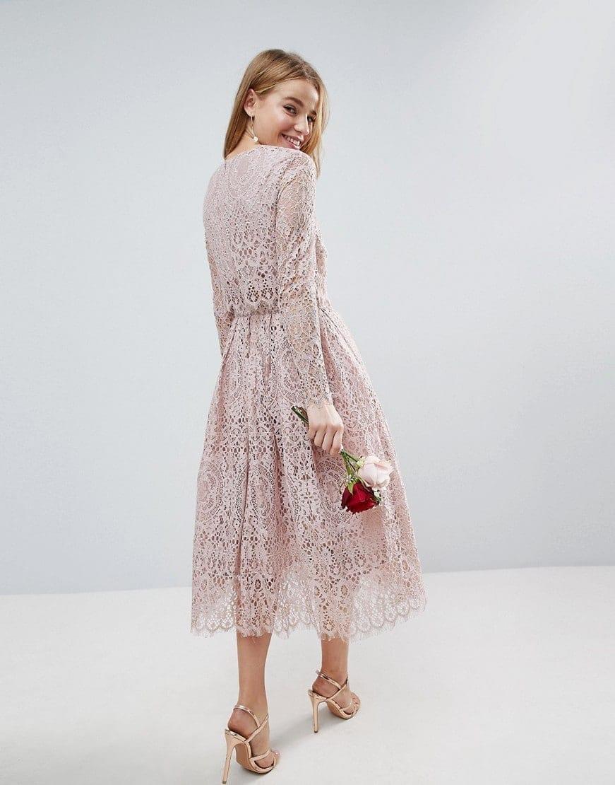 Asos Wedding Lace Long Sleeve Midi Prom Mink Dress
