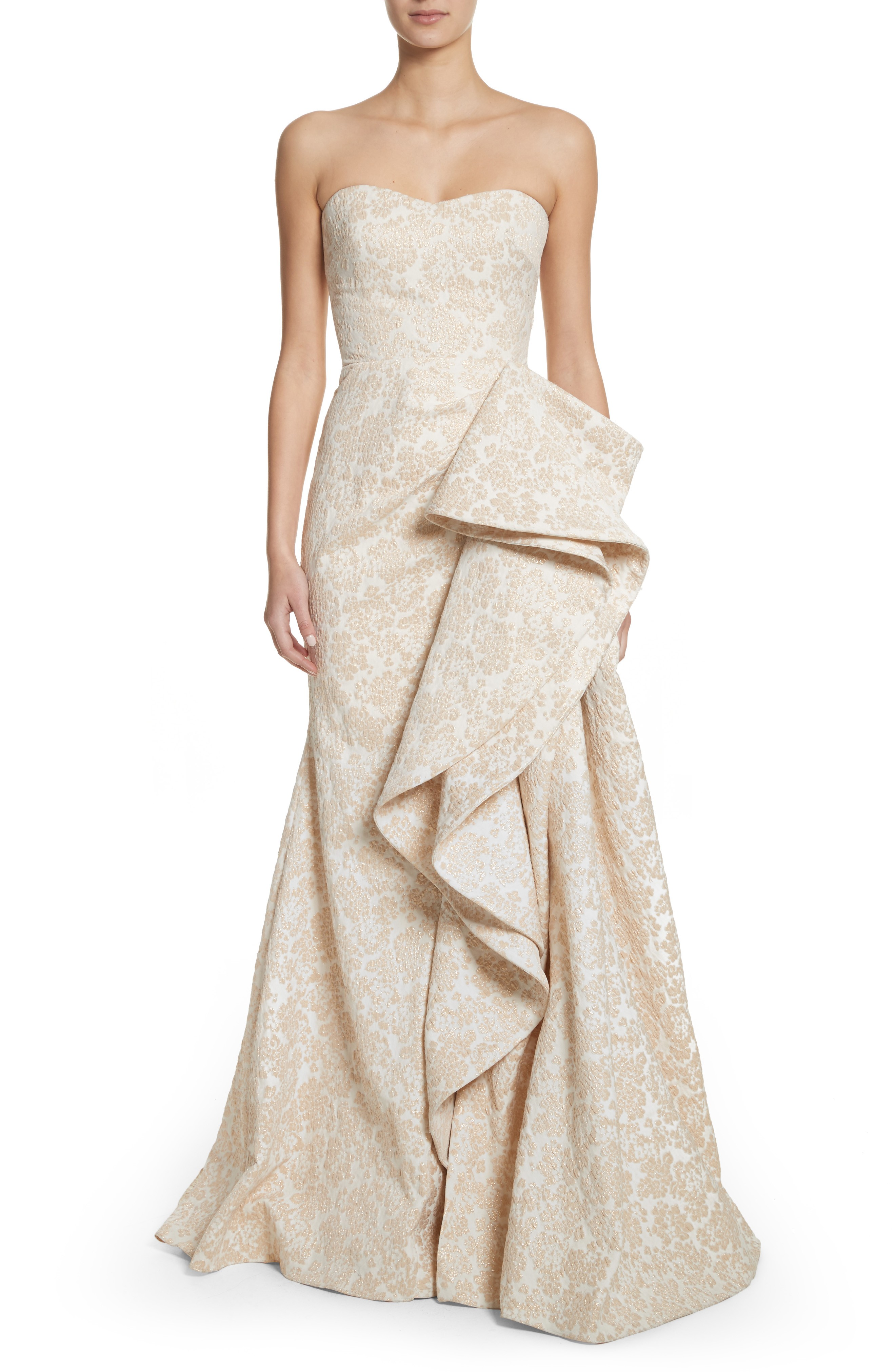 BADGLEY MISCHKA Platinum Sculptural Ruffle Ivory Gold Gown - We ...