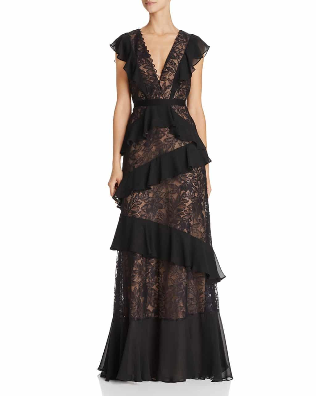 BCBGMAXAZRIA Ruffle Lace Black Gown - We Select Dresses