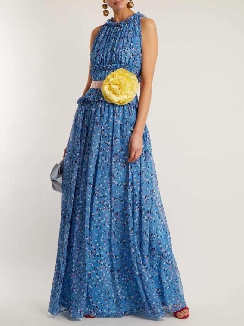 CAROLINA HERRERA Floral-print Silk-chiffon Cornflower Blue Gown - We ...