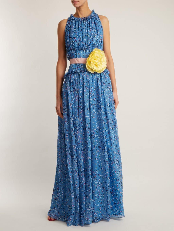 Carolina Herrera Fl Print Silk Chiffon Cornflower Blue Gown