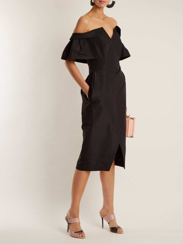 Carolina Herrera Off Shoulder Silk Faille Black Dress