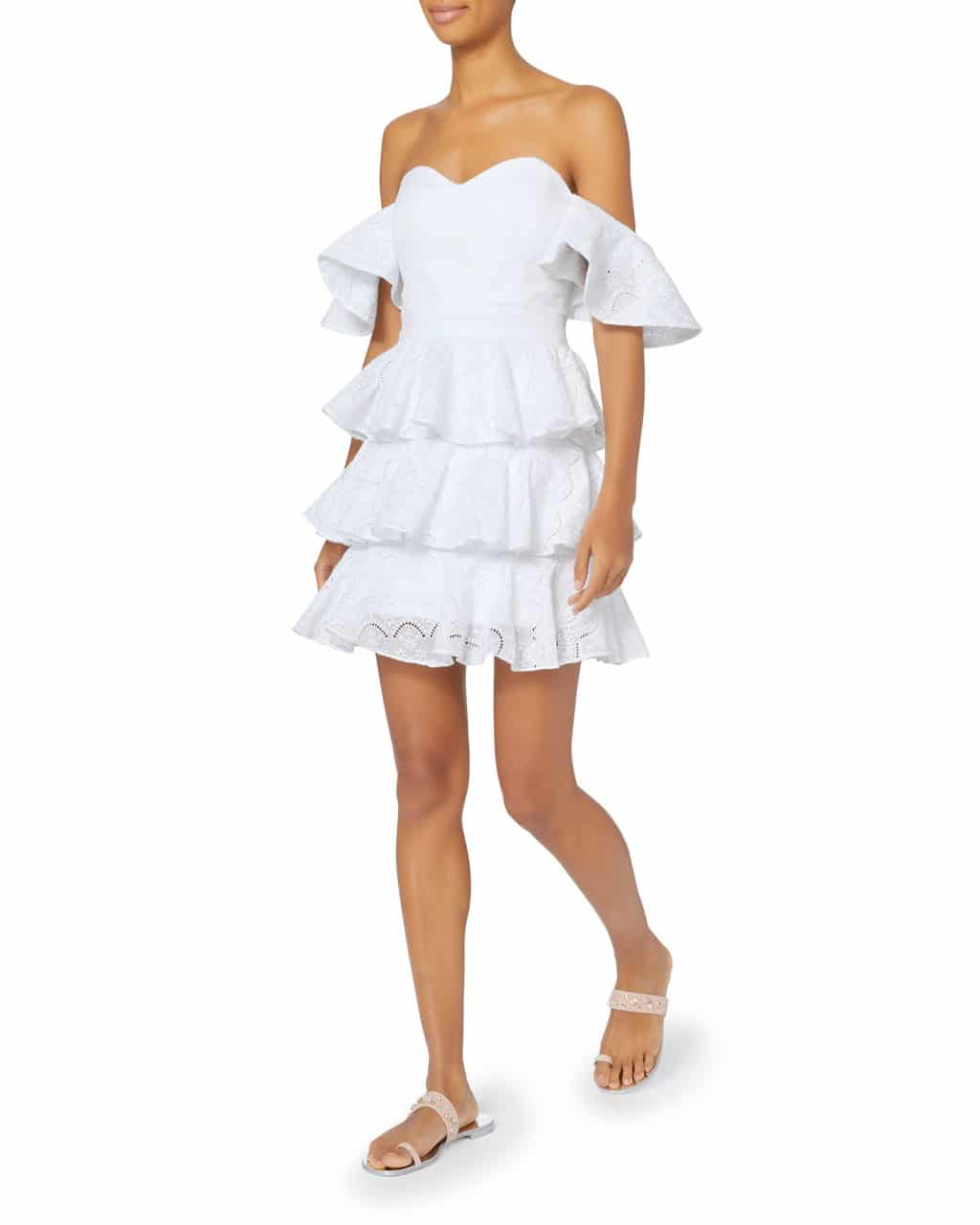 c426acdb953b CAROLINE CONSTAS Irene Mini Ruffle White Dress - We Select Dresses