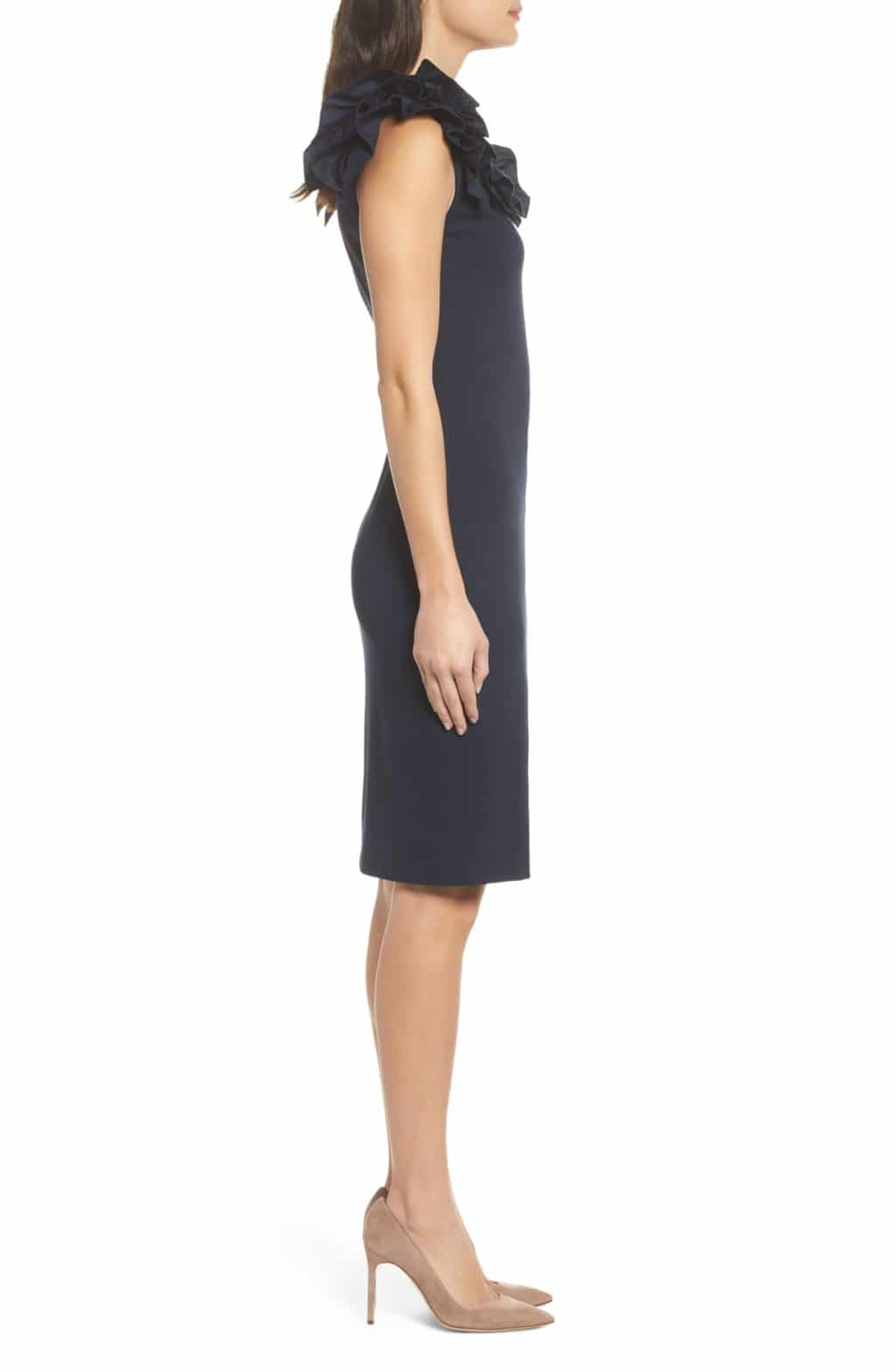 Chelsea28 Ruffle Sheath Navy Dress