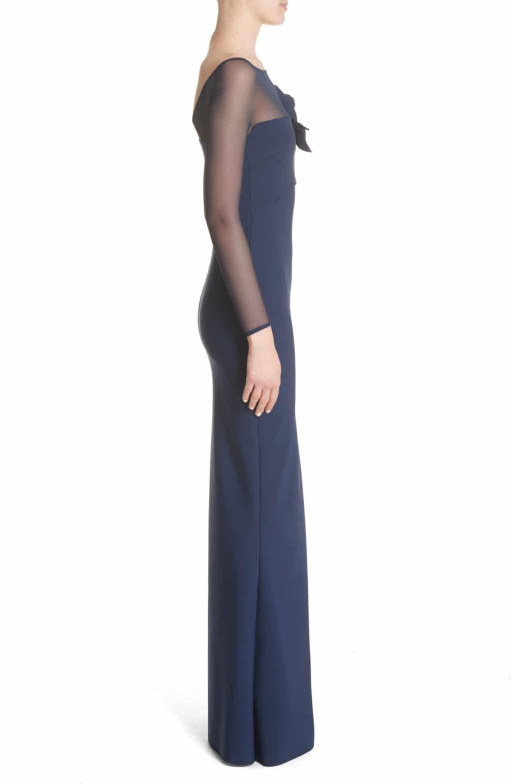 Chiara Boni La Petite Robe Saori Mesh Panel Mermaid Blue Notte Gown