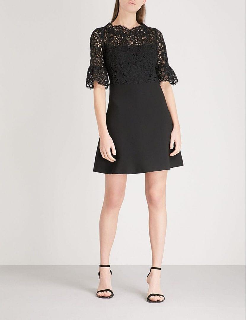 CLAUDIE PIERLOT Lace-panel Crepe Mini Black Dress