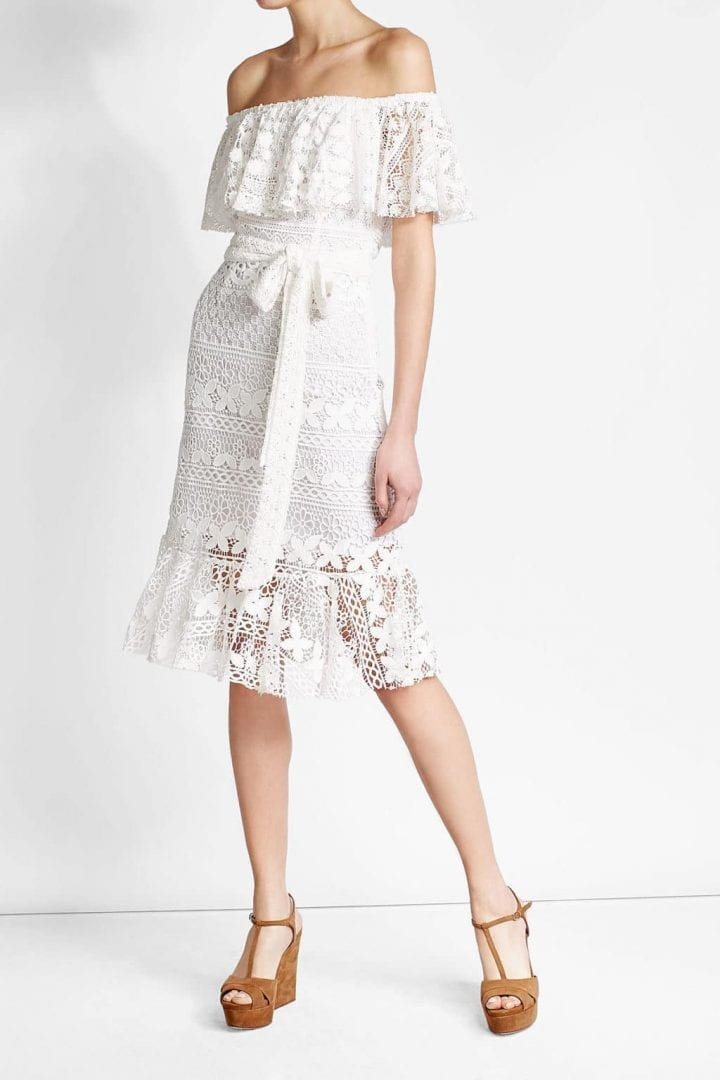 Dhela Lace White Dress