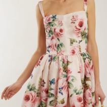 30b7eb946ac0d DOLCE & GABBANA Rose Print Silk Organza Baby Pink Dress - We Select ...