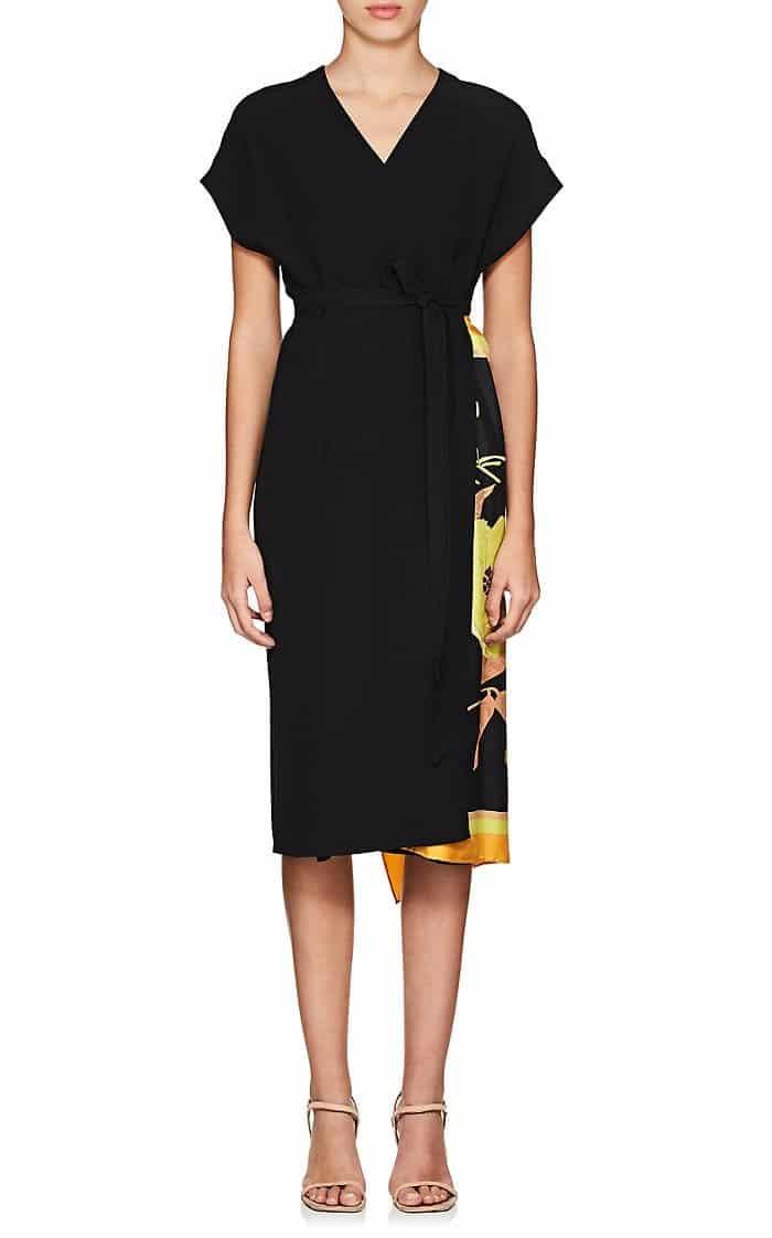 DRIES VAN NOTEN Defixi Crepe Wrap Black Dress