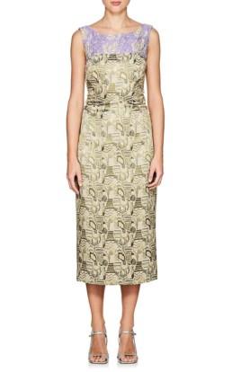 4de3cca1c80 DRIES VAN NOTEN Delicia Jacquard Midi Metallic Green Dress