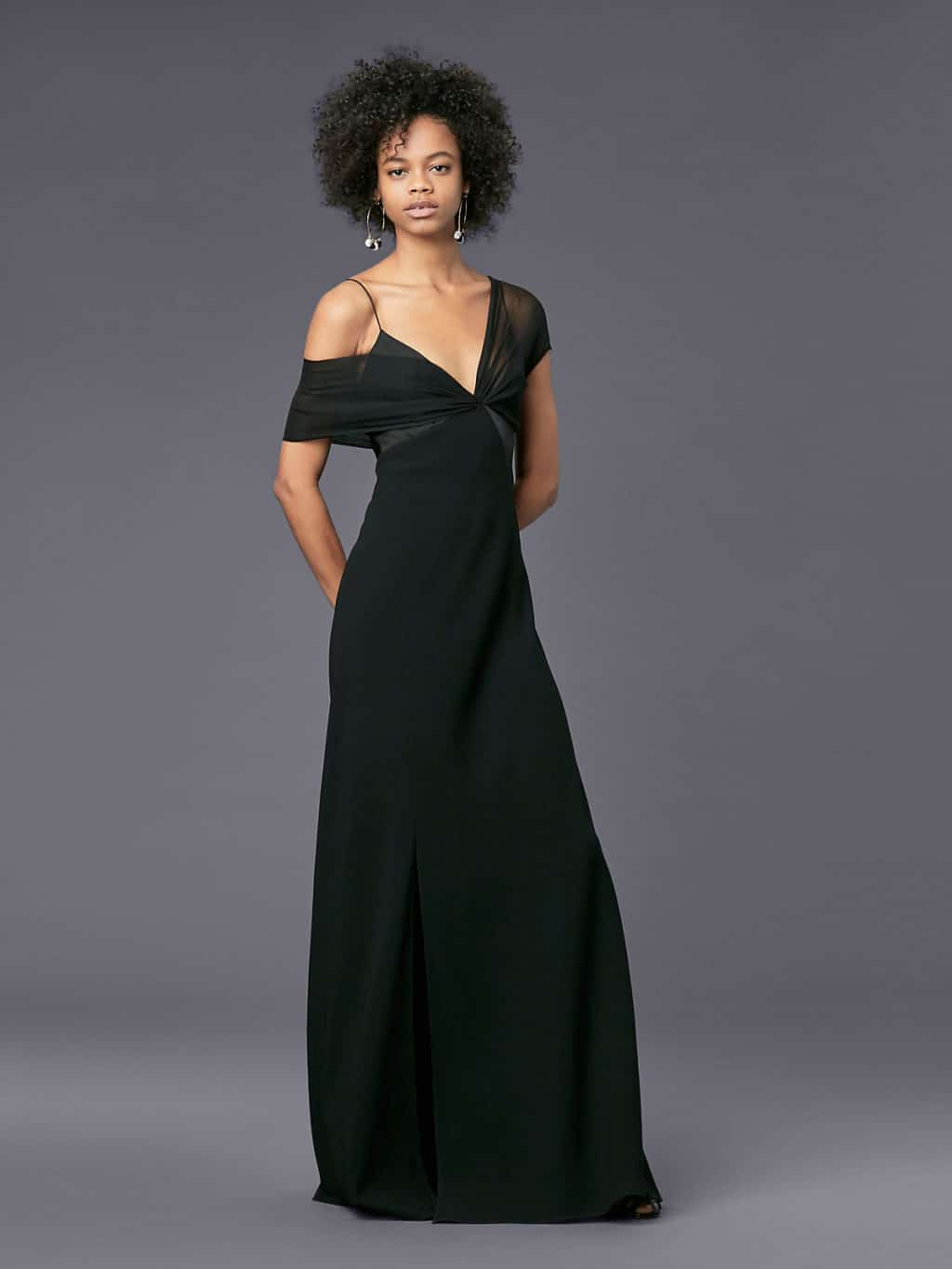 DVF Asymmetric Sleeve Knotted Black Gown - We Select Dresses