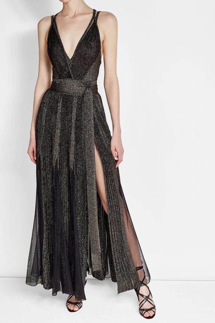 ELIE SAAB Metallic Thread Black Dress - We Select Dresses