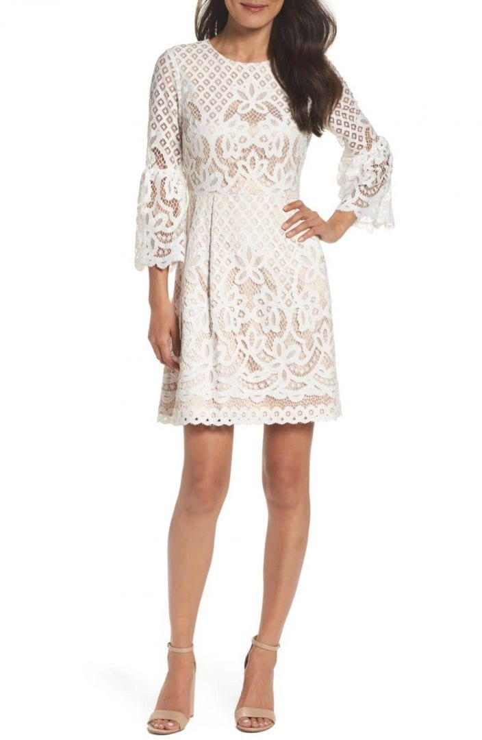 ELIZA J Bell Sleeve Fit & Flare Ivory Dress