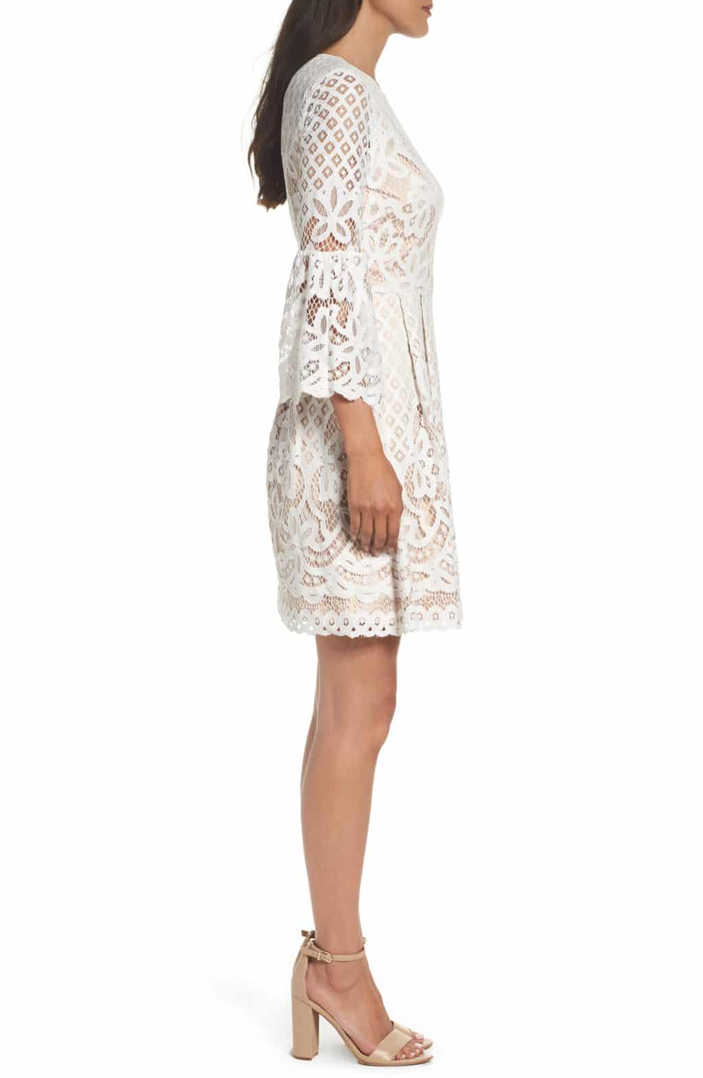 7b129109179a0 ELIZA J Bell Sleeve Fit   Flare Ivory Dress - We Select Dresses