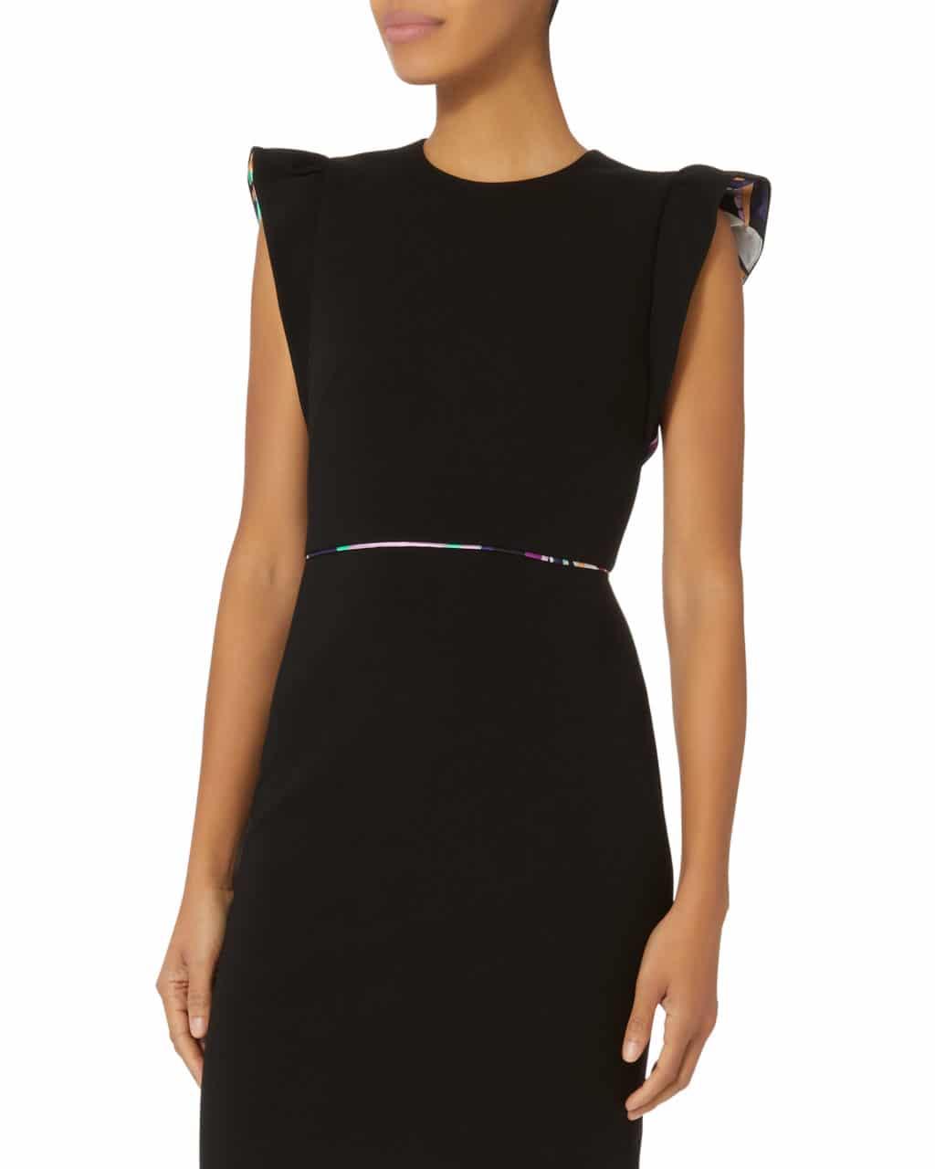 Emilio Pucci Ruffle Sleeve Black Dress