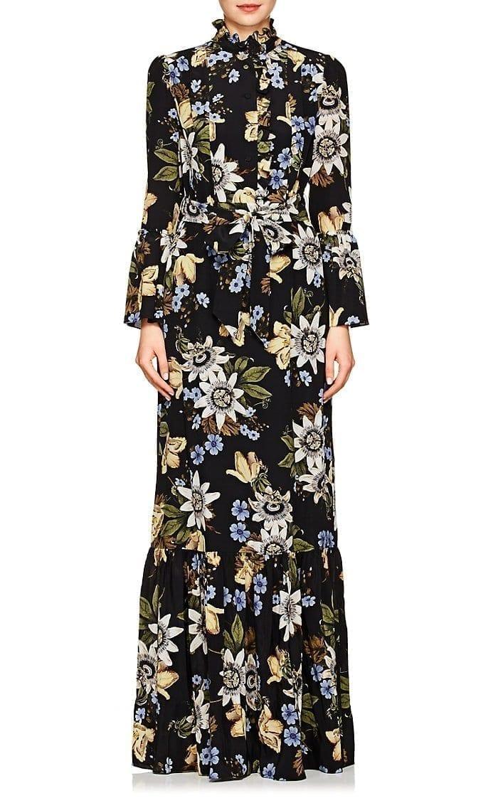 ERDEM Stephanie Floral Silk Black / Multiclored Gown
