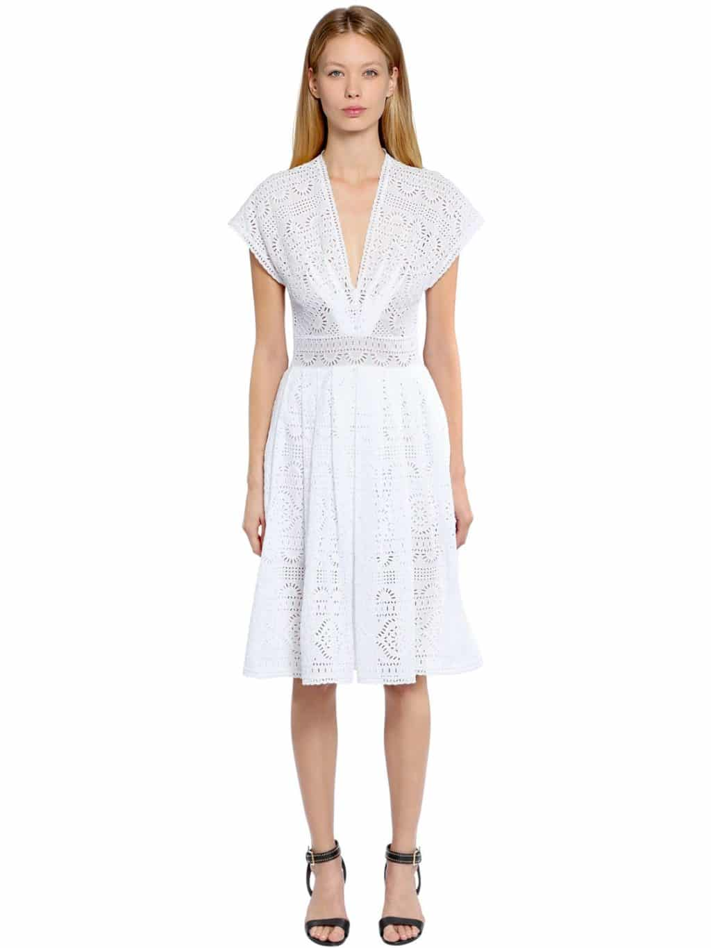 5cdf7e2332 ERMANNO SCERVINO Cotton Eyelet Lace White Dress - We Select Dresses
