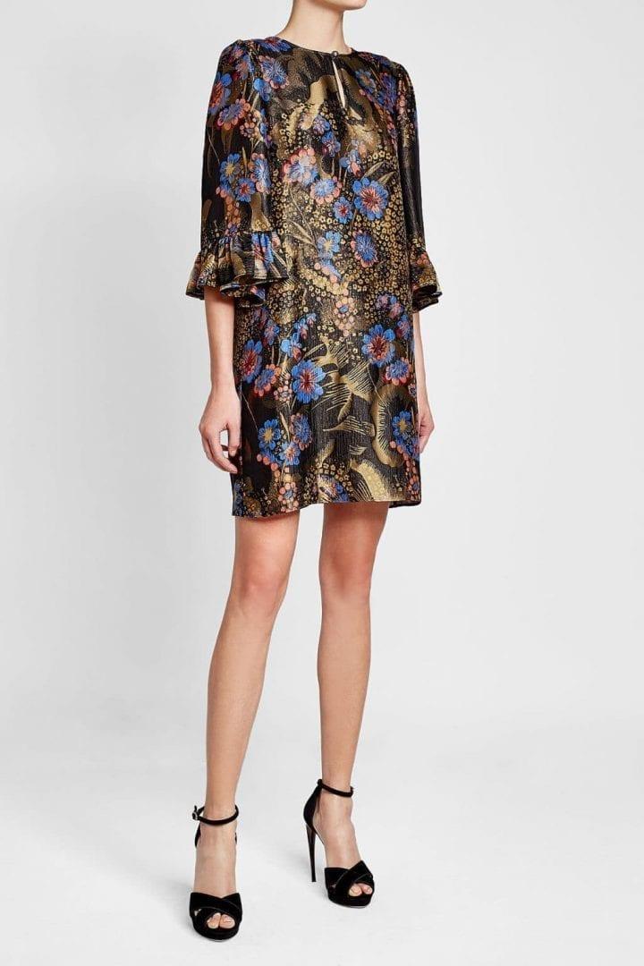 ETRO Silk and Metallic Thread Multicolored /Floralprinted Dress