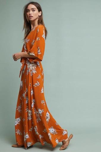 FAITHFULL Chelsea Wrap Maxi Orange Motif Dress