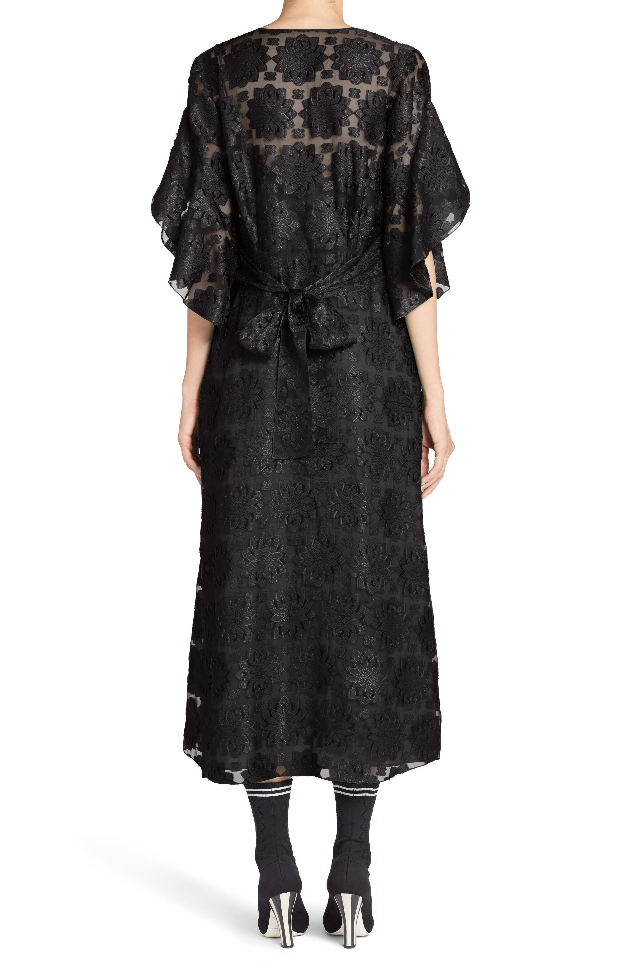 Fendi Daisy Fil Coupé Midi Black Dress