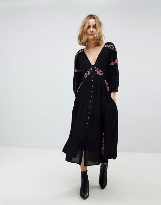 FREE PEOPLE Day Glow Midi Embroidered Black combo Dress