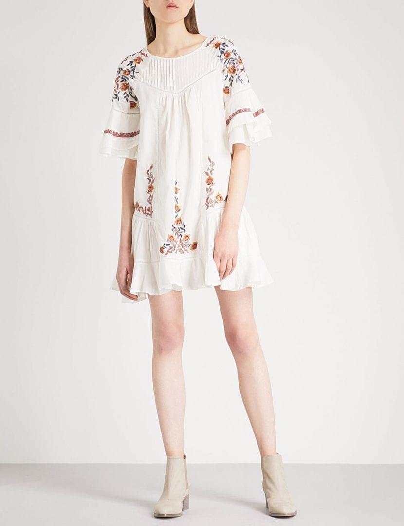 FREE PEOPLE Pavlo Embroidered Cotton Mini Ivory Dress