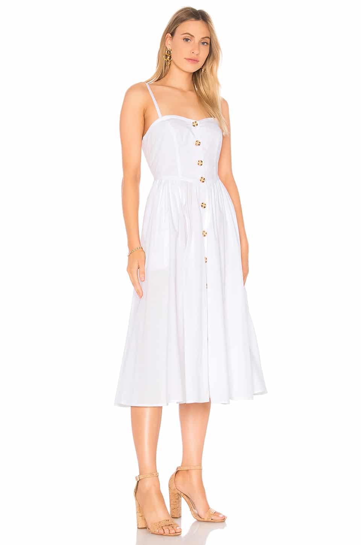 FREE PEOPLE Perfect Peach Poplin Midi White Dress - We Select Dresses