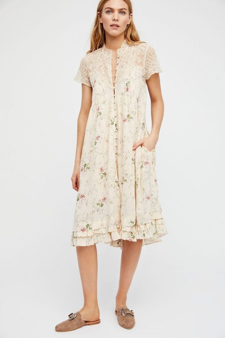 FREEPEOPLE Decadent Midi Tea Combo Dress