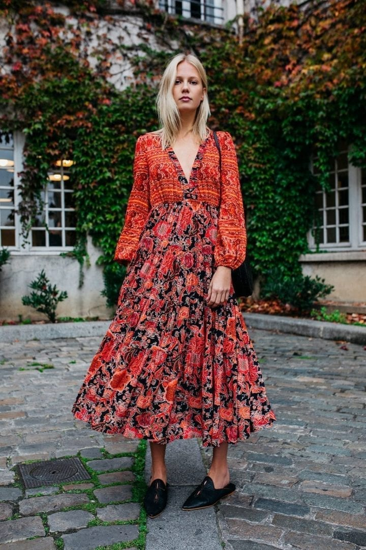 FREEPEOPLE Dove Long Sleeve Maxi Black Combo Dress