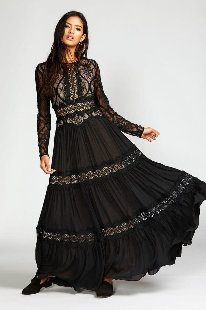 FREEPEOPLE Shadow Lace Maxi Black Dress
