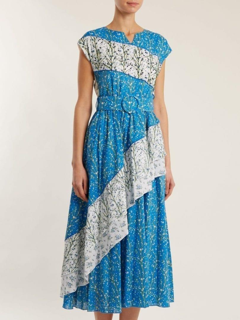 2a038d01851 GÜL HÜRGEL Bead-embellished Sky Blue   Floral Printed Dress - We ...