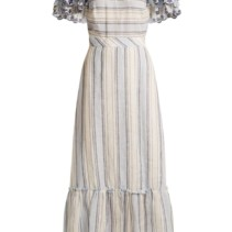 0ed5cfb6 GÜL HÜRGEL Ruffled-Sleeve Striped Linen Tonal Blue / White Dress ...